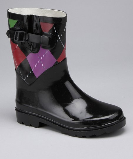 Black Argyle Rain Boot