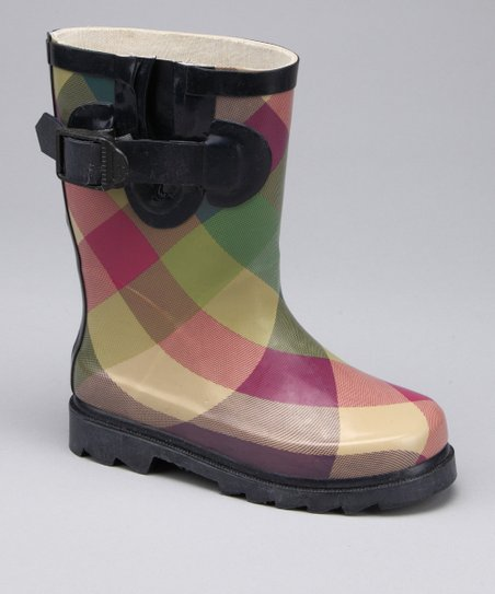 Bold Plaid Rain Boot