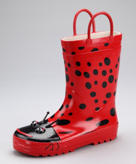 Red & Black Ladybug Rain Boot