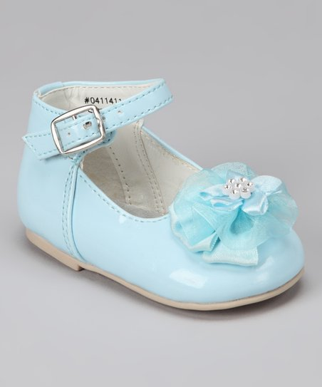 Blue Flower Ankle-Strap Flat