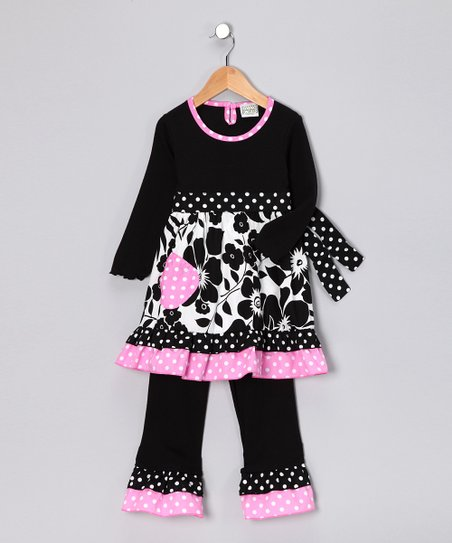 Black & Pink Floral Tunic & Pants - Toddler & Girls