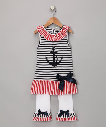 Blue Sailor Tunic & White Ruffle Pants - Toddler & Girls
