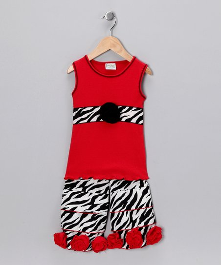 Red & Black Zebra Top & Ruffle Pants - Toddler & Girls