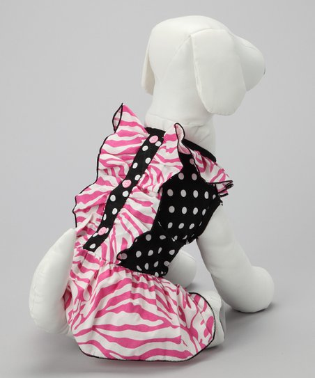 Pink &amp; Black Zebra Dog Dress