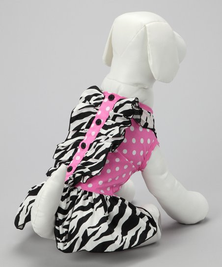 Pink & Black Polka Dot Dog Dress