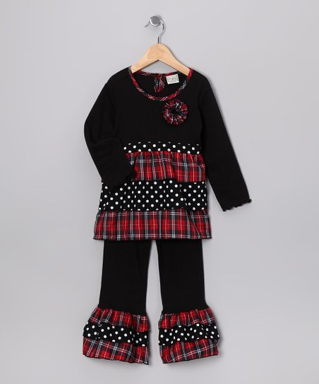 Black Plaid Jolly Tunic & Ruffle Pants - Toddler & Girls