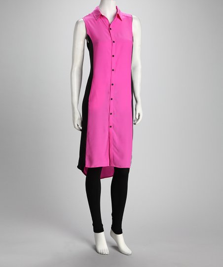 Anna Catherine Hot Pink &amp; Black Silk Shirt Dress