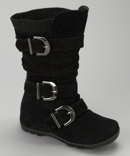 Black Triple-Buckle Boot