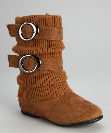 Tan Sweater-Cuff Double-Buckle Boot