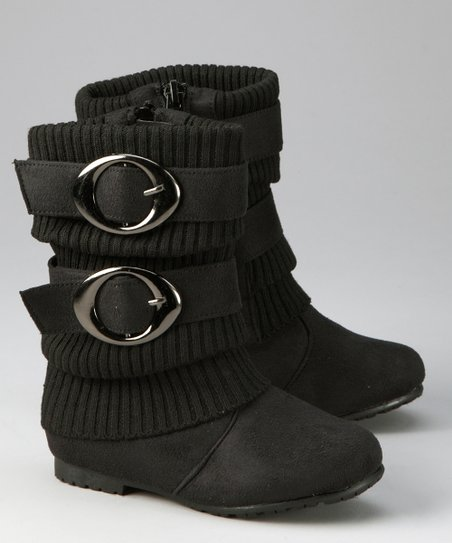 Black Sweater-Cuff Double-Buckle Boot