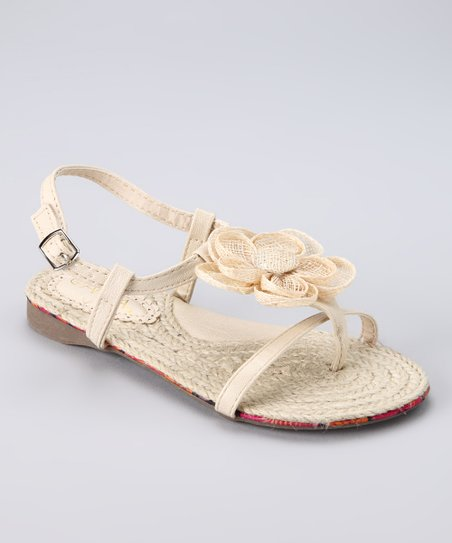 Anna Shoes Beige Flower Beach Sandal