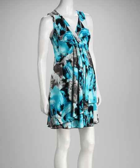 Turquoise & Gray Abstract V-Neck Maternity Dress