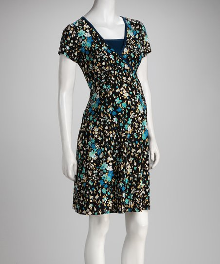 Blue Floral Surplice Maternity & Nursing Dress
