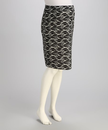 Black Lace Over-Belly Maternity Pencil Skirt