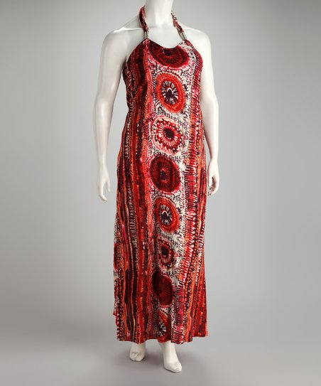 Red Abstract Plus-Size Maxi Dress