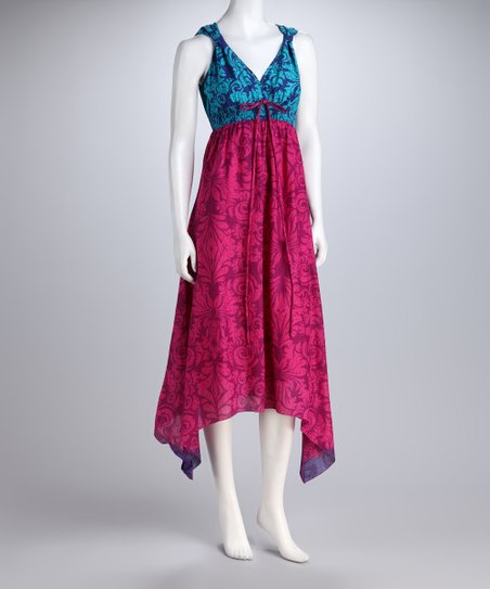 Fuchsia & Aqua Color Block Paisley Sidetail Dress