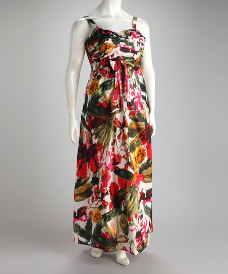 Red & Green Floral Plus-Size Maxi Dress