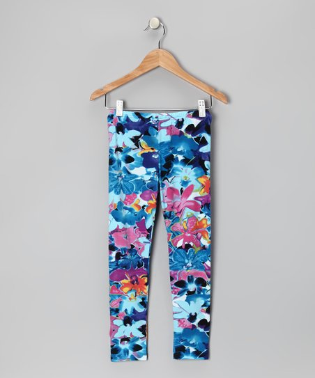 Blue & Pink Floral Leggings - Girls