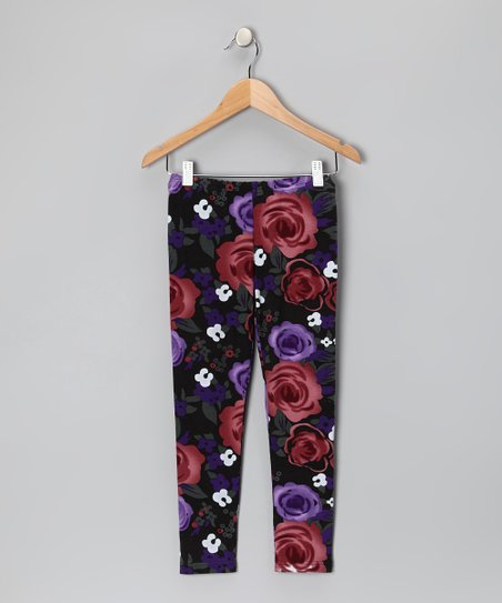 Black Rose Leggings - Girls