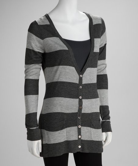 Gray & Charcoal Stripe Cardigan