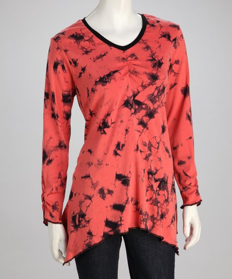 Black & Sanguine Sidetail Top - Women