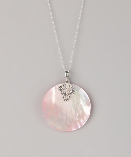 Sterling Silver & Pink Shell Disc Pendant Necklace