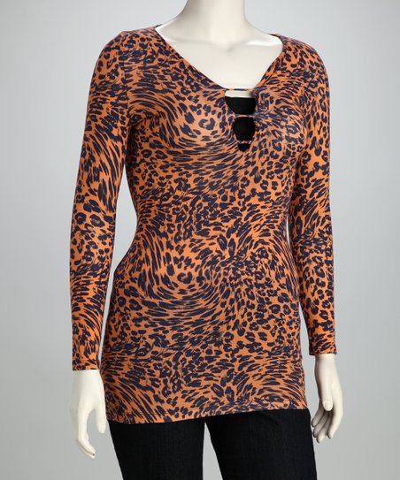 Orange Leopard Swirl Top