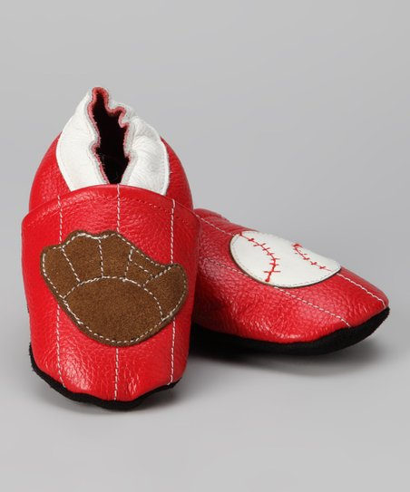 Red Baseball Booties