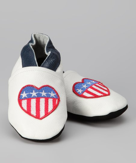 White American Heart Booties