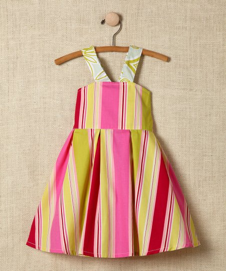 Pink Stripe Cross-Back Dress - Girls