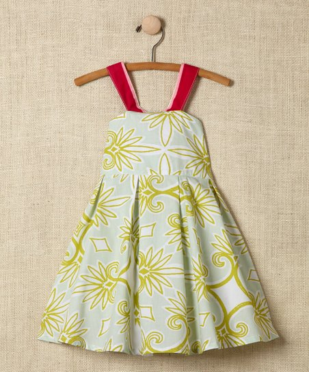 Green Damask Cross-Back Dress - Toddler & Girls