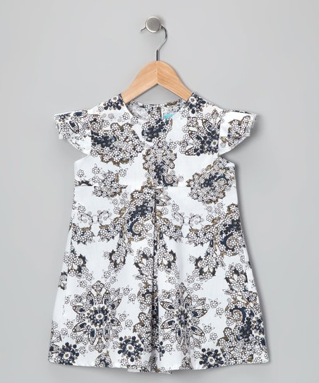 White &amp; Navy Angel-Sleeve Dress - Toddler &amp; Girls