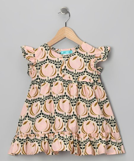 Pink & Tan Ruffle Dress - Girls