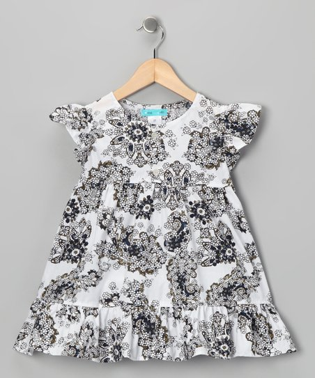 White & Navy Ruffle Dress - Infant, Toddler & Girls