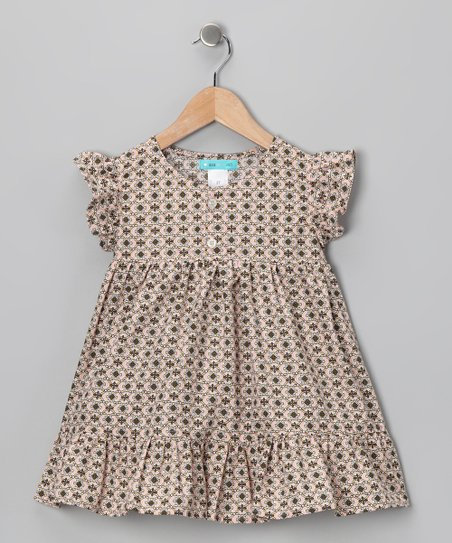 Pink &amp; Brown Ruffle Dress - Toddler &amp; Girls