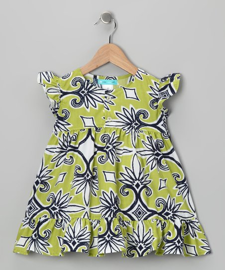 Green & Navy Ruffle Dress - Girls