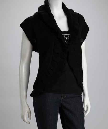 Black Ruffle Ribbed Vest