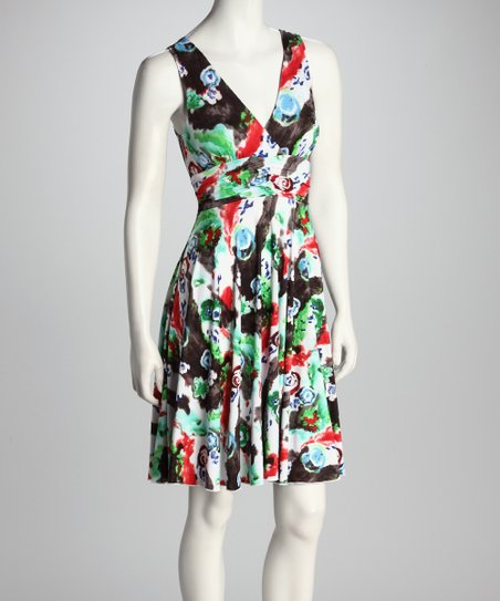 Blue & Green Floral Abstract Empire-Waist Dress