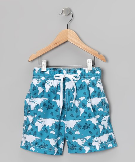 Aqua Blue Turtle World Swim Trunks - Infant, Toddler &amp; Boys
