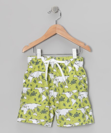 Green Turtle World Swim Trunks - Infant, Toddler & Boys