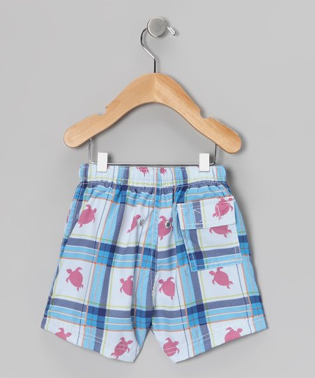 Blue Plaid Turtle Swim Trunks - Infant, Toddler & Boys