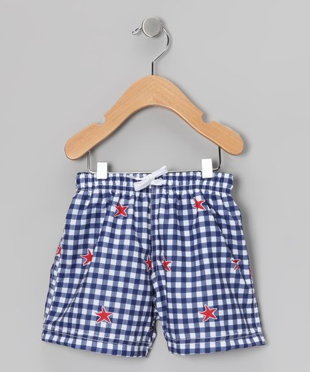 Blue Gingham Swim Trunks - Infant &amp; Boys