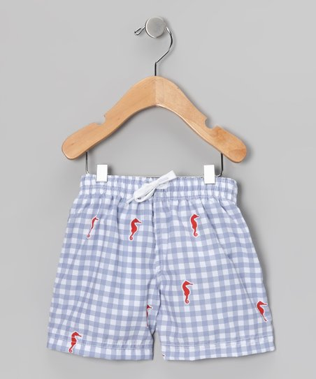 Light Blue Gingham Swim Trunks - Infant, Toddler & Boys