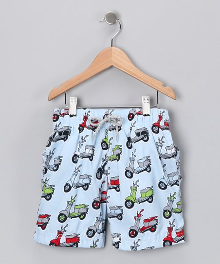 Light Blue Moped Swim Trunks - Infant, Toddler & Boys
