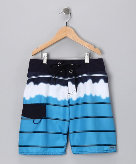 Blue Tie-Dye Boardshorts - Boys