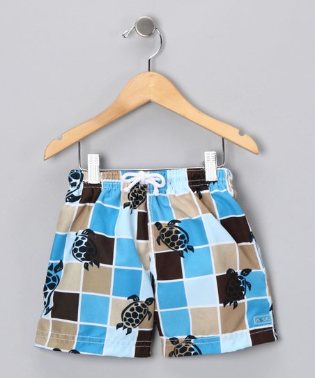Blue Grid Turtle Swim Trunks - Toddler & Boys