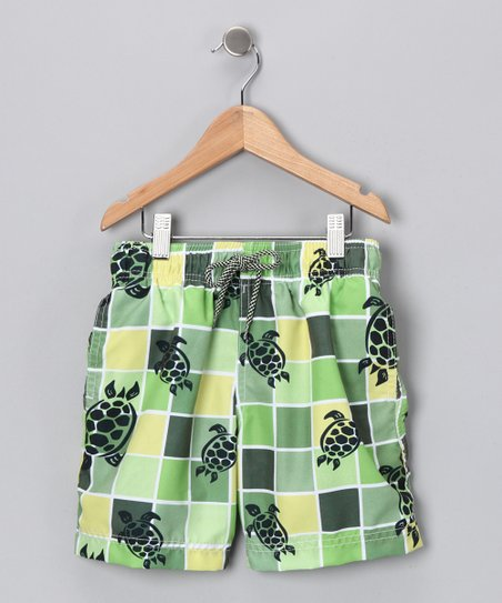 Green Grid Turtle Swim Trunks - Infant, Toddler &amp; Boys