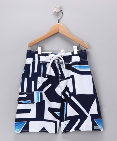 Navy Arrow Swim Trunks - Boys