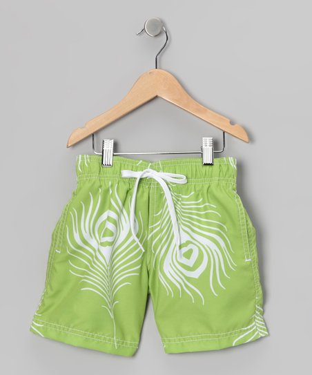 Green Feather Swim Trunks - Infant, Toddler & Boys