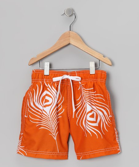 Orange Feather Swim Trunks - Infant, Toddler &amp; Boys